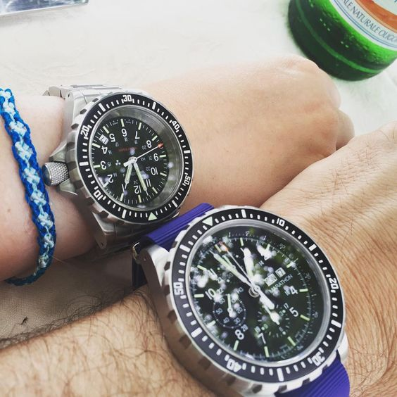 It's a family affair. Dad's Marathon CSAR with daughter's TSAR. Available from us. #Marathon #Watches