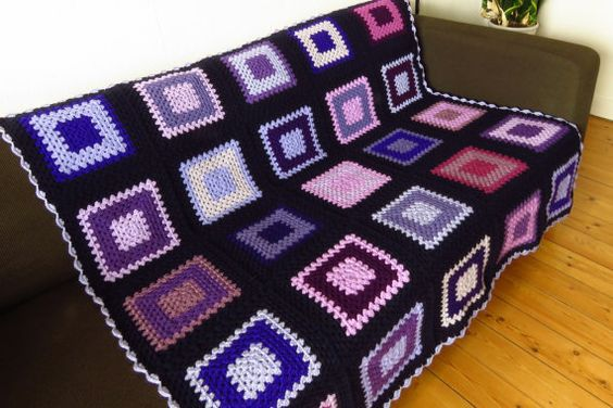 Purple Afghan Blanket Purple Throw Blanket 50 x by PhoenixSmiles