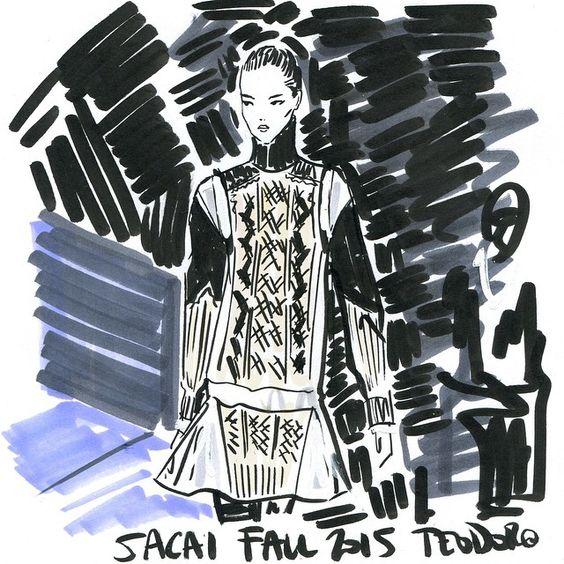 ReSketch #regram @netaporter this sweater dress loveliness @sacaiofficial #Sacai #PFW #fashion #illustration