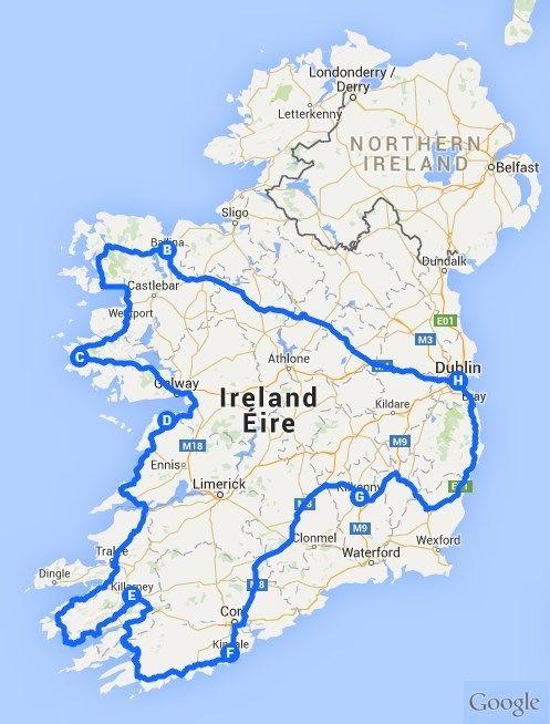 irland rundreise karte Irland Rundreise mit dem Auto | Irland rundreise, Irland reise