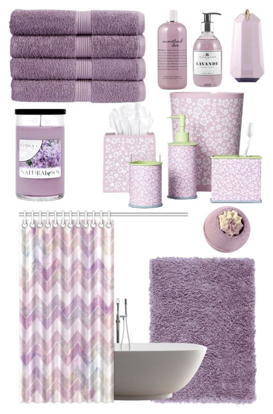 """""""Lavender bathroom."""" by mariananava ❤ liked on Polyvore featuring interior, interiors, interior design, home, home decor, interior decorating, Christy, Home Decorators Collection, Allure Home Creation and philosophy"""