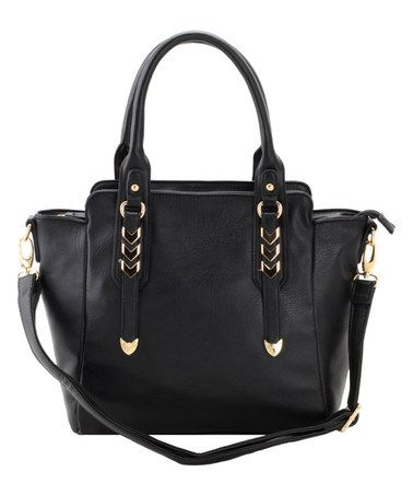 Take a look at this Black Chevron Stud Convertible Tote on zulily today!