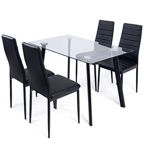 Allblessings New 5pcs Tempered Glass Top Table 4 Chairs Kitchen Dining Set Furniture Tempered Glass Table Top Kitchen Table Settings Black Kitchen Furniture