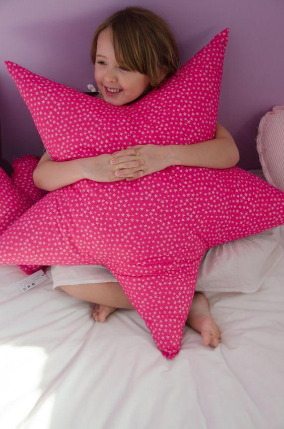 Star shaped Cushion / Pillow '' Big star '' stars silver fabric: