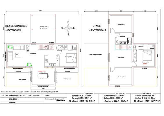 Maison ossature bois contemporaine T5 - Etage - 94 à 122m2 Archi - plan maison 110m2 etage