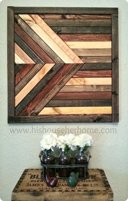 Geometric stained wood wall d cor pottery barn knock off for Wood floor knocking block