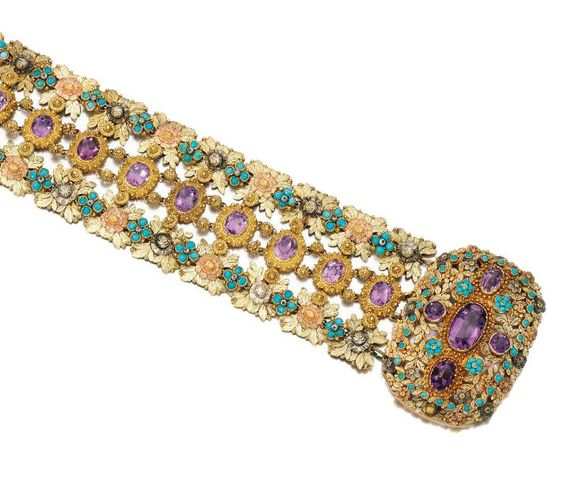 Gold And Gem Set Bracelet - The Cushion-Shaped Clasp Chased With Leaves And Flowers In Three Colored Gold Applied With Cabochon Turquoise And Faceted Amethyst With Bead Surrounds   c. Early 19th Century