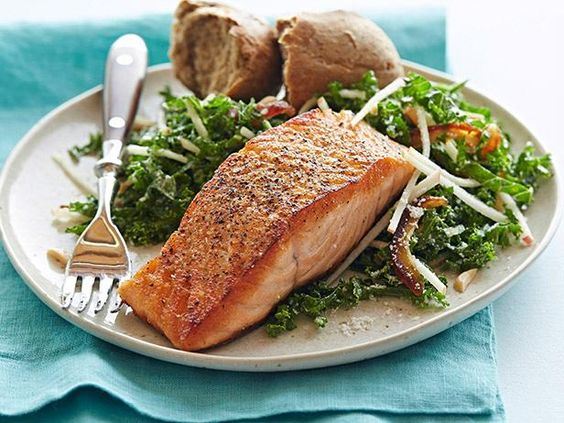 Quick and easy doesn't have to mean unhealthy. Check out this list of over 80 fun and healthy weeknight dinners!: Network Kitchen, Weeknight Dinner, Apple Salad, Salad Recipe, Healthy Dinner, Kale Salad, Healthy Recipe, Salmon Recipe, Dinner Recipe