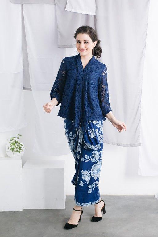 Everlasting Batik Ca18048 Blue Kartika Lace Top Batik