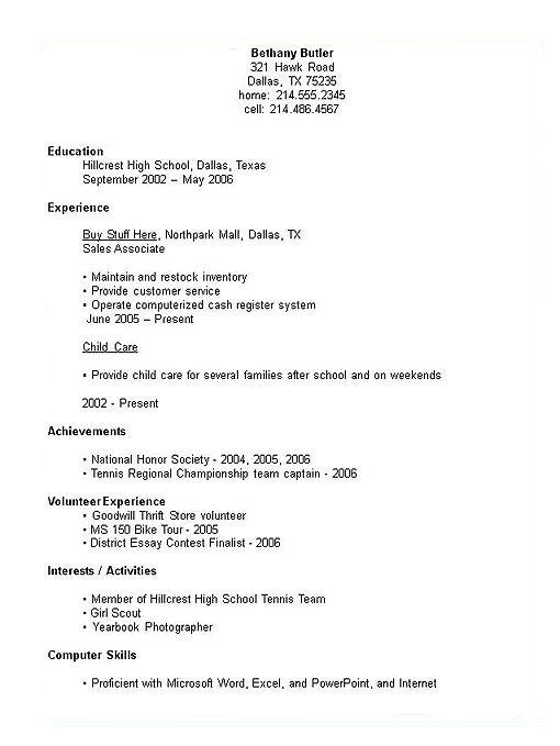 Resume Template For Highschool Graduate