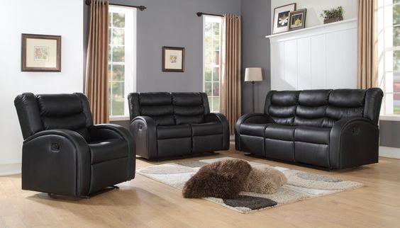 3 PIECE - Black Motion Living Room Set