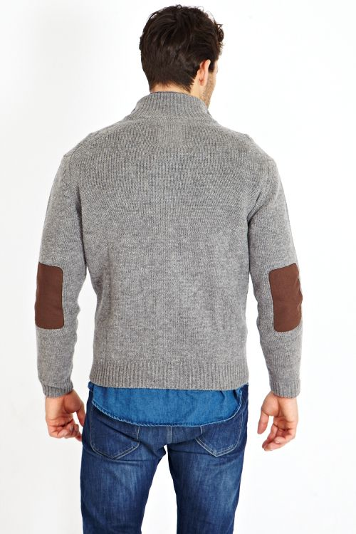 BUTTON FRONT CARDIGAN WITH ELBOW PATCHES 100% LAMBSWOOL | Jack Stuart
