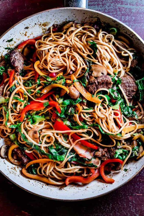 Sweet and Spicy Korean Stir Fry Noodles