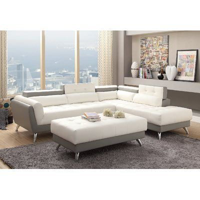 Orren Ellis Mercuri 109 Wide Faux Leather Right Hand Facing Sofa Chaise With Ottoman In 2021 White Sectional Sofa 2 Piece Sectional Sofa White Sectional
