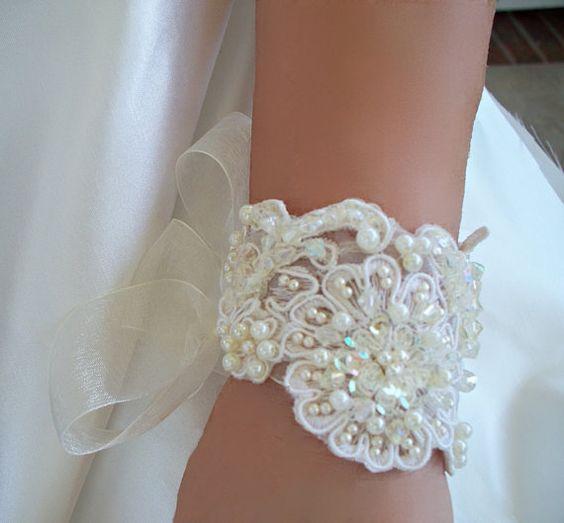 Vintage Inspired Bridal cuff chocker or by reneeburroughsdesign, $79.00