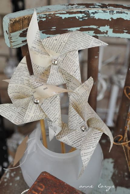 Pinwheels & old book pages = what's not to love?