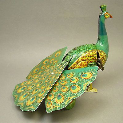 Vintage Alps Wind Up Tin Litho Peacock Bird Toy Made in Japan Handmade Feet