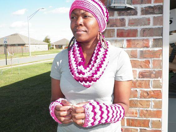 Crochet Hat Fingerless Gloves Cowl by WarmHeartsCrochet on Etsy