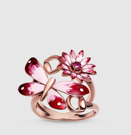 Gucci - Gucci Flora ring in rose gold, enamel and rubies 391032J86885771