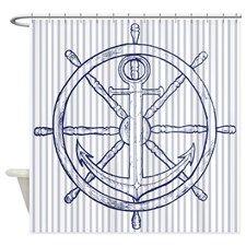 Nautical Anchor on Grey Stripe Shower Curtain
