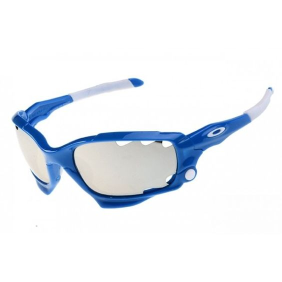 blue and silver oakley sunglasses  oakley racing jacket sunglasses blue / silver iridium
