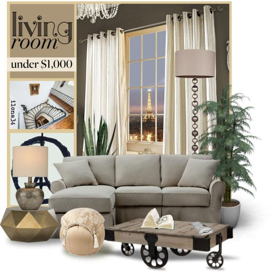 Living Room Under $1000 by ilona2010 on Polyvore featuring interior, interiors, interior design, home, home decor, interior decorating, Home Decorators Collection, Kylie Minogue, living room and livingroom