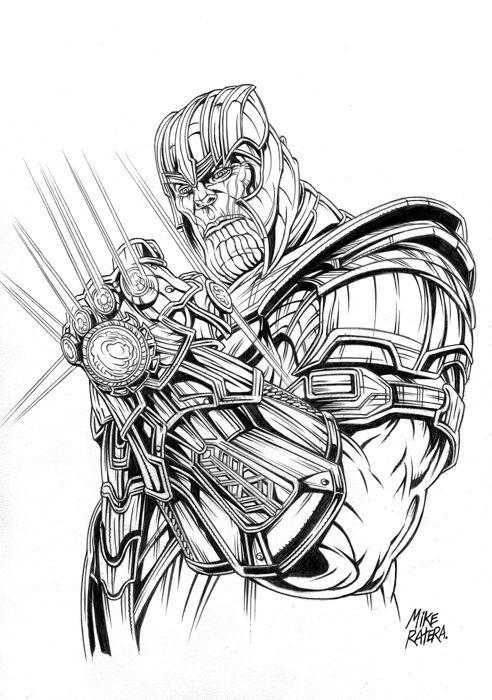 Thanos Original Drawing Mike Ratera Potlood Kunst W B