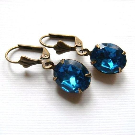 Vintage Bright Blue Jewel Glass Oval and Brass by TheSilverDog, $10.00