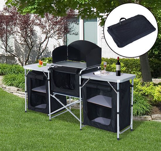 Details About Camping Kitchen Picnic Cabinet Table Portable