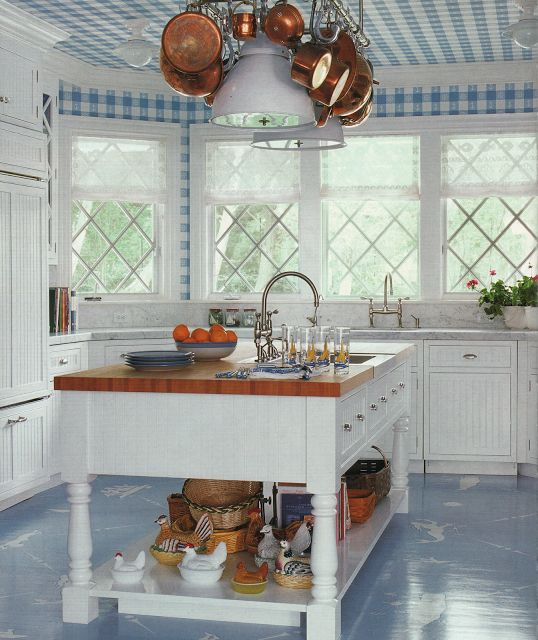 All White Kitchen With A Blue Check Ceiling Blue Wood