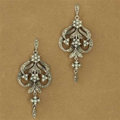 Sterling Silver Seed Pearl & Marcasite Three Flower Chandelier ...
