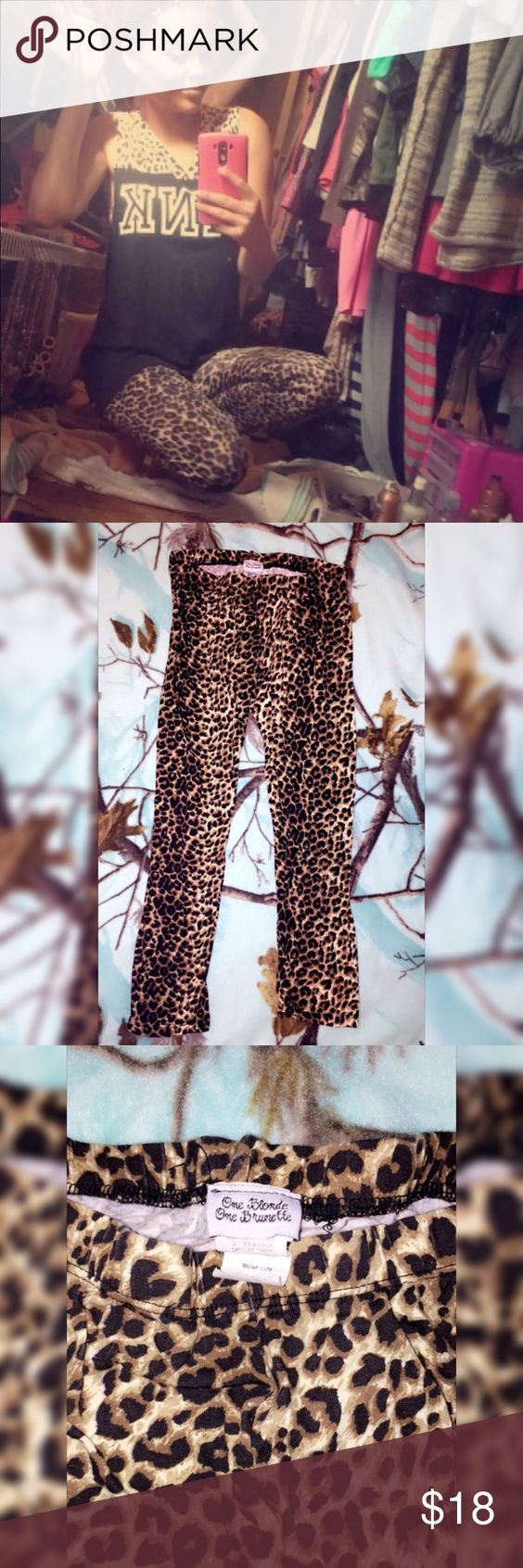 Cheetah leggings Cute cheetah leggings from one blonde one brunette, very comfy and stretchy , in great condition One blonde one brunette  Pants Leggings