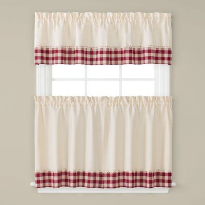 August Grove Nueva Tier Kitchen Curtain Size 57 W X 36 L Valance Curtains Curtains Traditional Valances