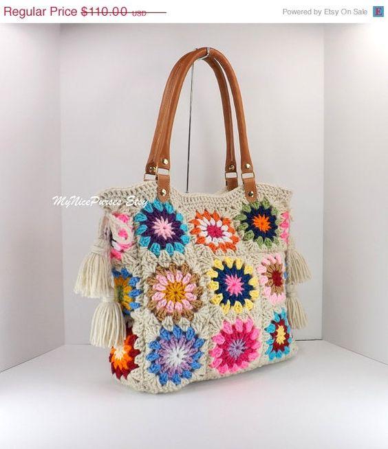 SALE Crochet granny squares handbag with tassels by MyNicePurses