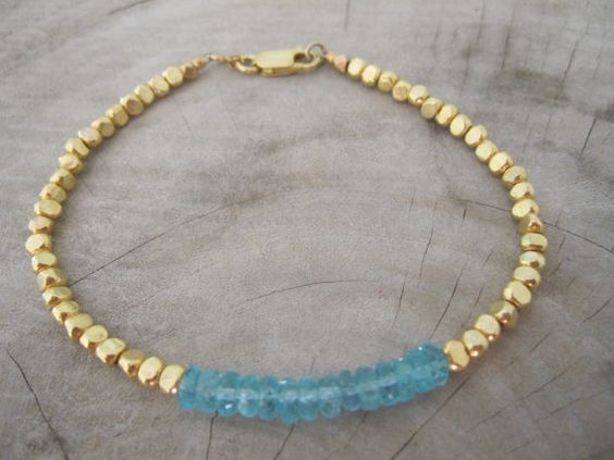 Blue apatite Bracelet,gold nugget beads bracelet,simple bracelet,women bracelet,beadwork bracelet,birthstones bracelet,gemstone bracelet