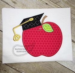 Graduation Apple Applique - 4 Sizes! | What's New | Machine Embroidery Designs | SWAKembroidery.com Beau Mitchell Boutique