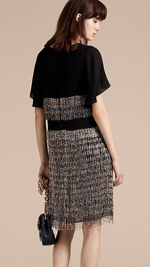 Preto Vestido de seda com franjas de contas feitas à mão - Imagem 3