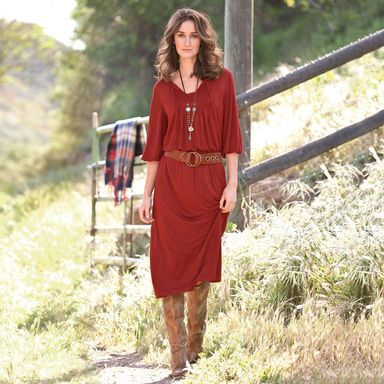 """go-to jersey dress  Silky modal jersey in a rich sangria hue is all drape and flattery, with a smocked waist, neckline ties, tucks and a touch of lace. Elasticized three-quarter sleeves. Machine wash. Imported. Exclusive. Sizes XS (2), S (4 to 6), M (8 to 10), L (12 to 14), XL (16). Approx. 48-1/2""""L."""