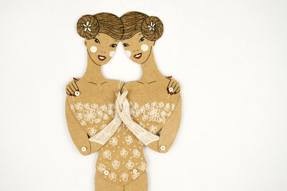 Siamese twins Articulated Paper Doll by by dubrovskaya on Etsy