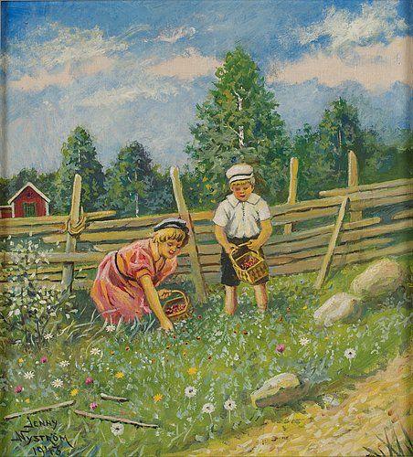 """JENNY NYSTRÖM 1854 – 1946, """"Bärplockande barn"""":"""