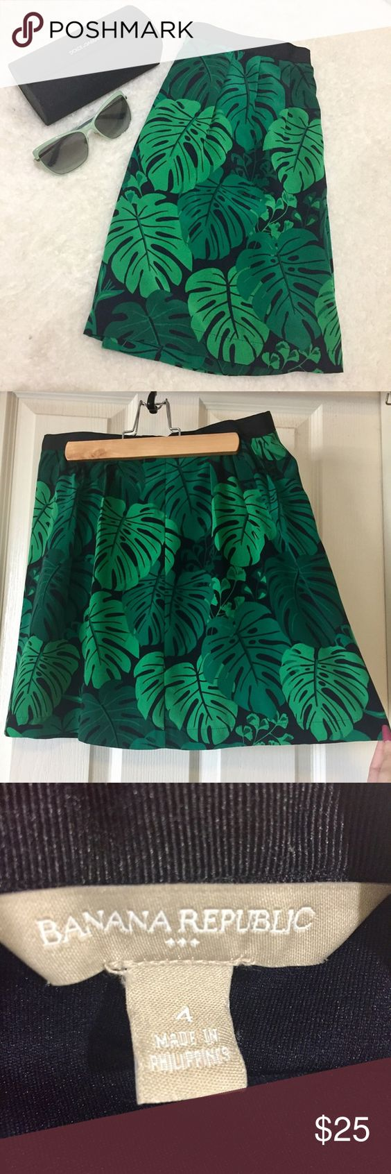 Banana Republic Skirt, Green, size 4 NWOT. Banana Republic, green and black, leaf print skirt. NWOT. Size 4. Thin skirt with lining and a zip up back. Adorable for spring and summer! Length: 16.5 inches. Banana Republic Skirts