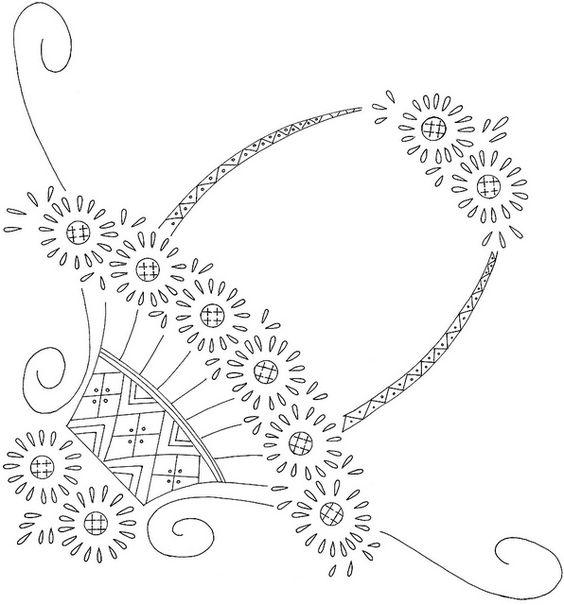 flower basket embroidery pattern: