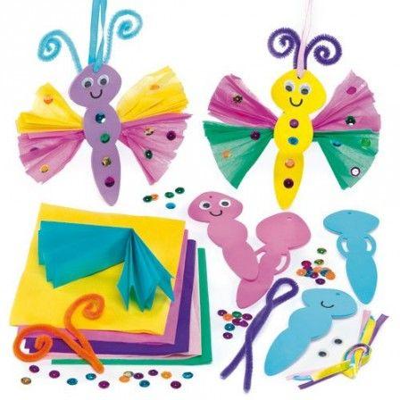enfant bricolage printemps papillon avec mousse et papier froisse activites facile periscolaire. Black Bedroom Furniture Sets. Home Design Ideas
