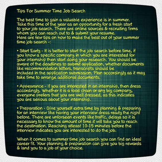 Tips For Summer Time Job Search  Hipcv Resume Tips  Articles