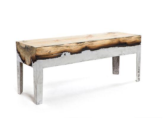 Furniture combining cast aluminium and wood.
