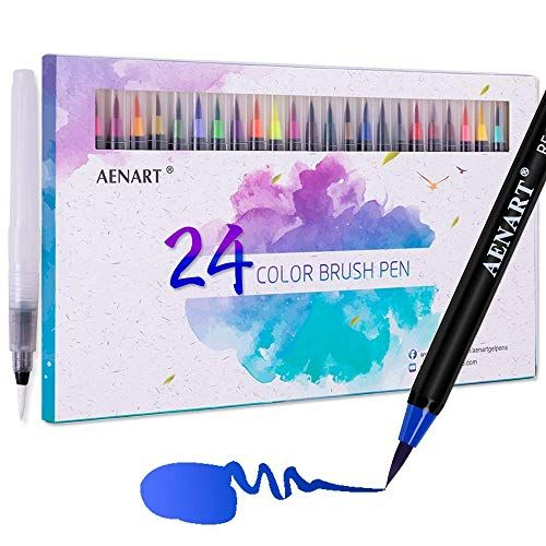 6pcs S M L Watercolor Brush Pen Art Markers Water Tank Calligraphy