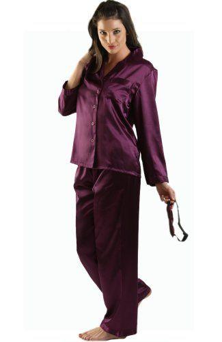 Del Rossa Women's Classic Satin Pajama Set - Long Pjs, Small Deep ...