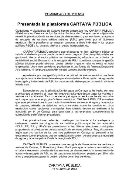 Comunicado presentación cartaya pública by Psoecartaya, via Slideshare