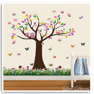 Owl Wall Stickers Monkey Lion  Animal Tree Butterfly Decor Mural Decal Nursery