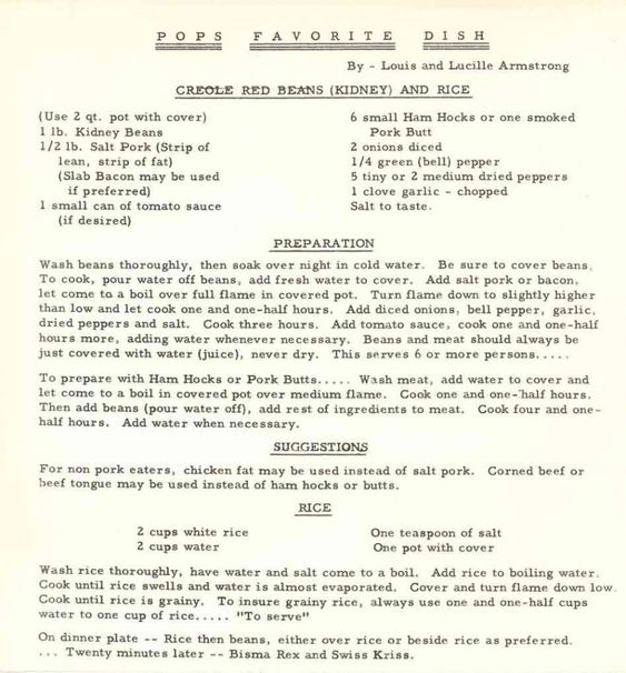 Louis Armstrong's Red Beans & Rice Recipe